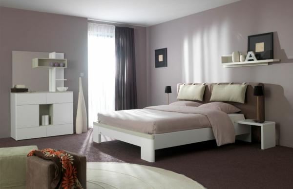 Moderne chambre coucher compl te - Chambre adulte violet ...