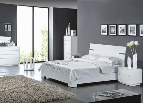 Moderne chambre coucher compl te for Chambre grise et blanche