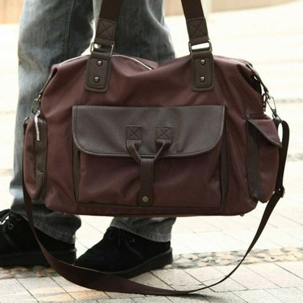 cool-combinaison-de-cuir-et-tissu-pour-le-sac-de-voyage