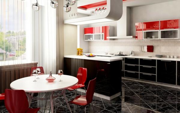 La cuisine ouverte sur la salle manger 55 photos - Salle a manger rouge et blanc ...