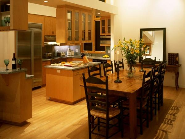 cuisine-ouverte-sur-la-salle-à-manger-amménagement-en-bois