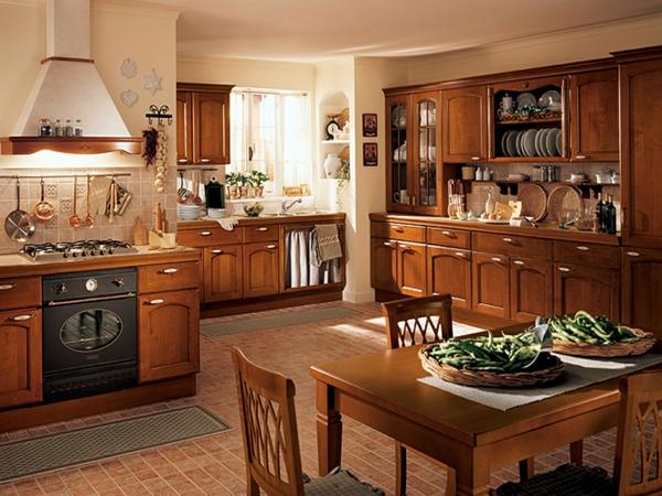cuisine-ouverte-sur-la-salle-à-manger-intérieur-classique-mobilier-en-bois-foncé