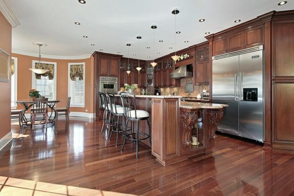 cuisine-ouverte-sur-la-salle-à-manger-une-cuisine-marron