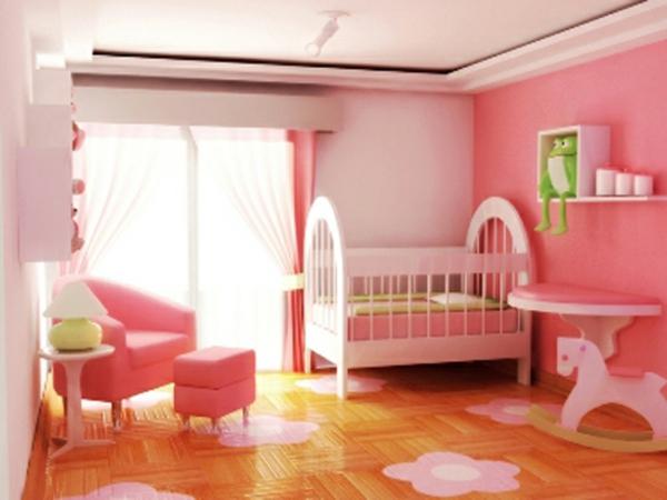 décoration-chambre-bébé-étagères-murales-une-chambre-rose