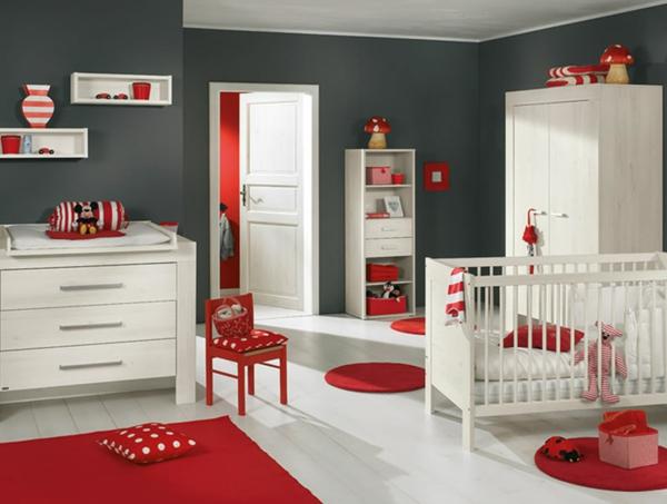 décoration-chambre-bébé-une-chambre-en-blanc-et-rouge