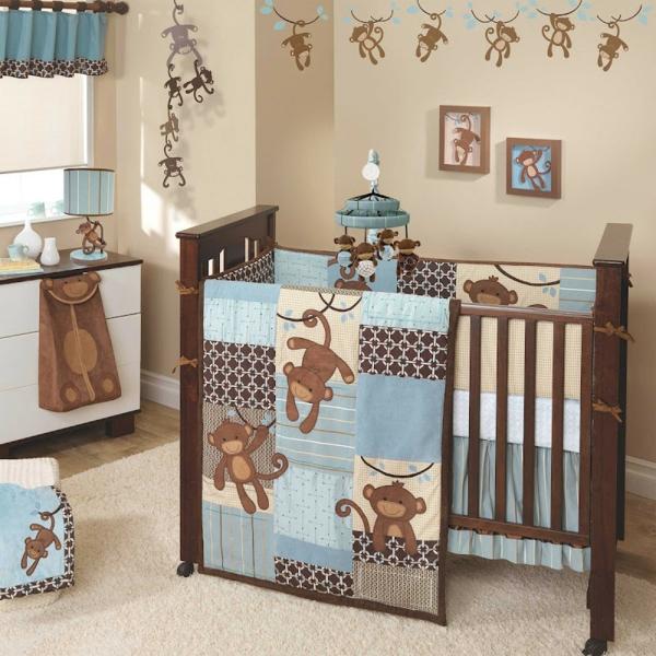 décoration-chambre-bébé-couette-de-lit-singes