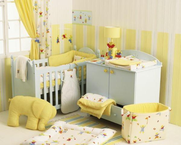 décoration-chambre-bébé-décoration-en-jaune