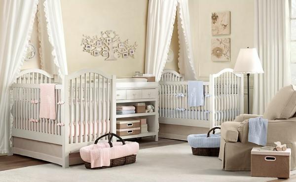 décoration-chambre-bébé-pour-jumeaux-filles