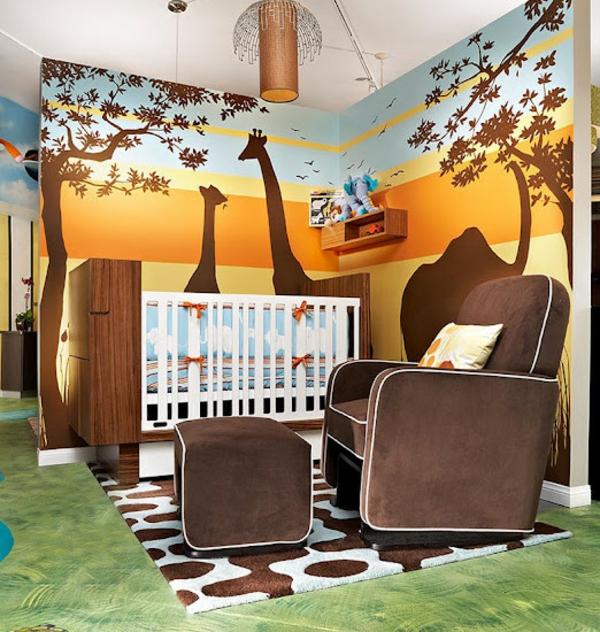 décoration-chambre-bébé-un-grand-fauteuil-marron-et-silhouettes-de-girafes