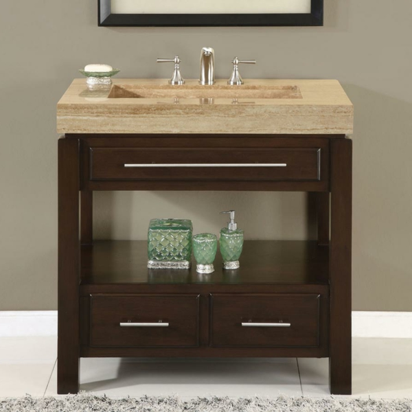 dark-walnut-single-sink-vanity-console-unit-antique-beige-travertine-vanity-countertop-polished-chrome-two-lever-handles-sink-faucet-under-storage-2-drawers-and-1-shelving-bathroom-vanities-bathroom-resized