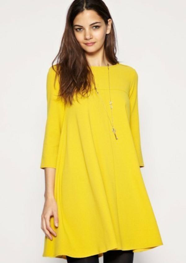jaune-robe-tunique-comme-vêtement-de-grossesse