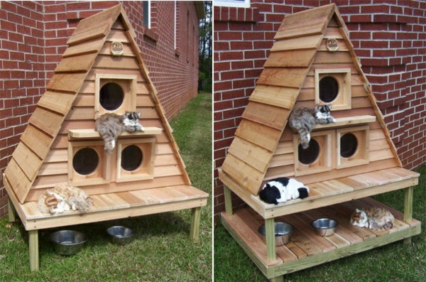 Choisir une maisonnette pour chat - Fabriquer une niche pour chat en bois ...