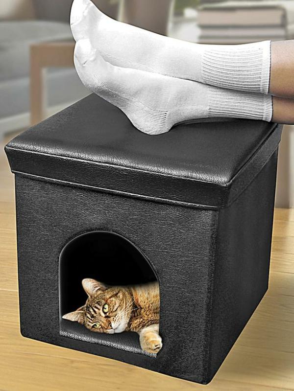 maisonnette-pour-chat-tabouret-noir-avec-cachotte-pour-chat