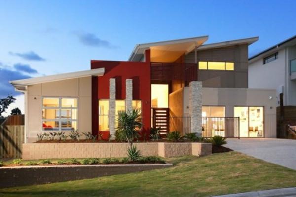 maisons-contemporaines-élément-coloré-de-façade