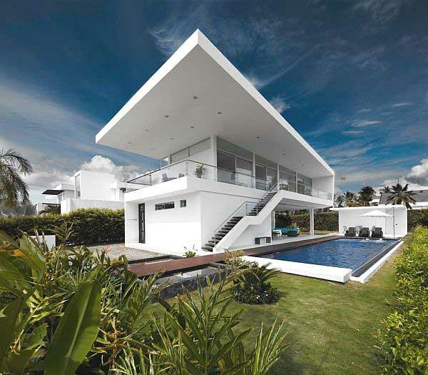 maisons-contemporaines-maison-blanche-piscine-rectangulaire