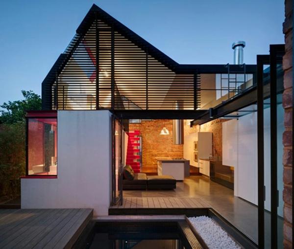 maisons-contemporaines-plan-de-maison-moderne-sol-extérieur-en-bois