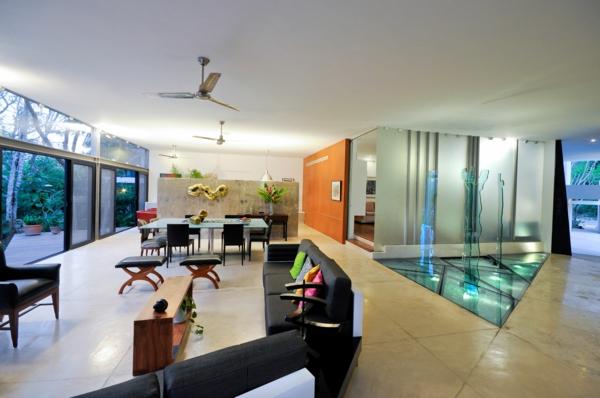 maisons-contemporaines-salle-de-séjour-et-salle-de-déjeuner
