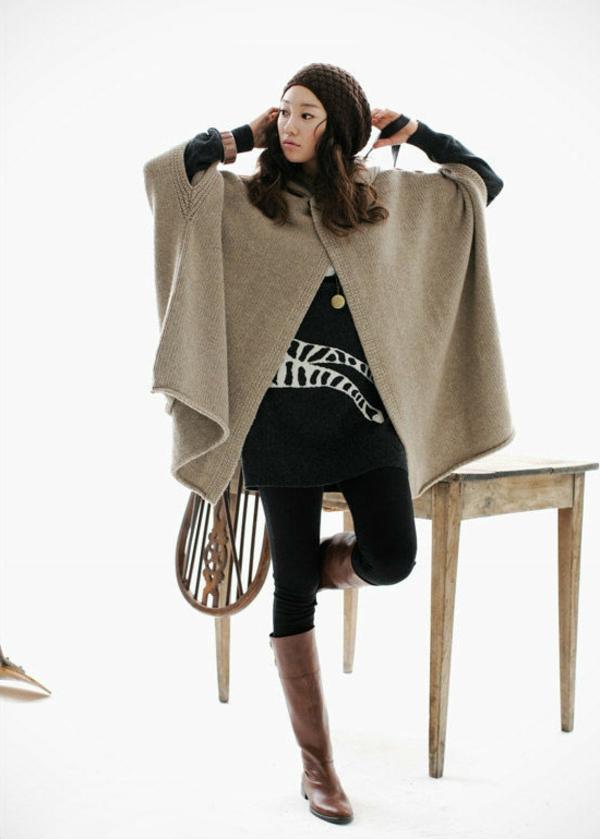 manteau-cape-style-élégant-tricoté