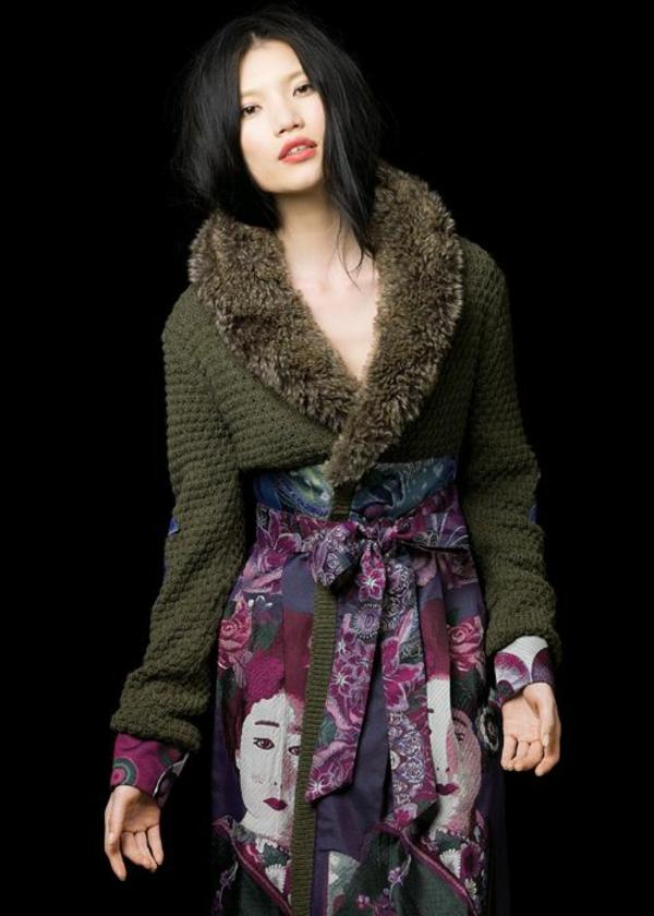 manteau-desigual-éléments-tricotés