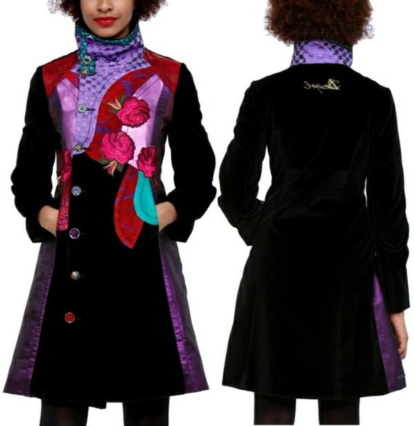 manteau-desigual-noir-et-prints-colorés