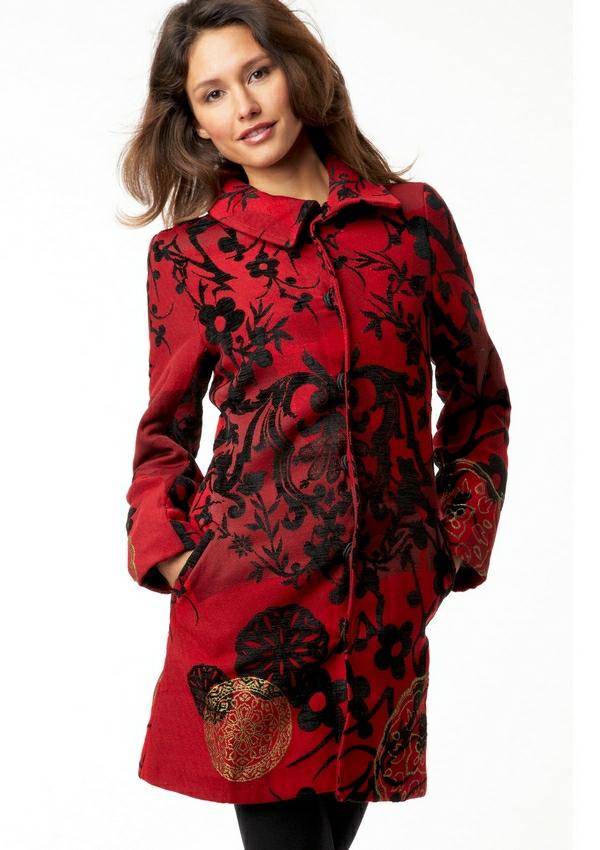 manteau-desigual-rouge-électrique