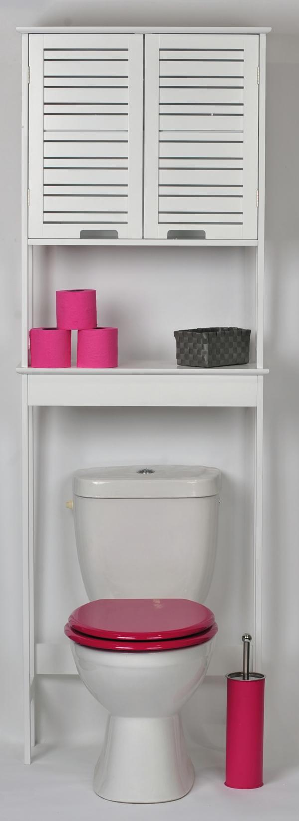 Salle De Bain Contemporaine 2015 : meuble-wc-pour-la-salle-de-bain-en-blanc-confortable-avec-un-armoire …