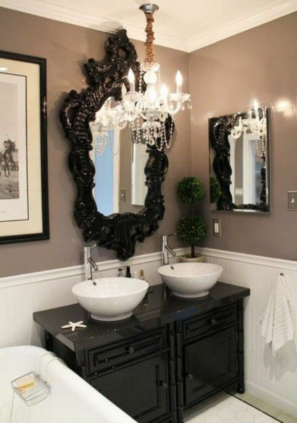 Le miroir baroque est un joli accent d co - Miroir salle de bain noir ...