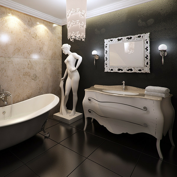 miroir-baroque-salle-de-bains-à-éléments-du-style-antique