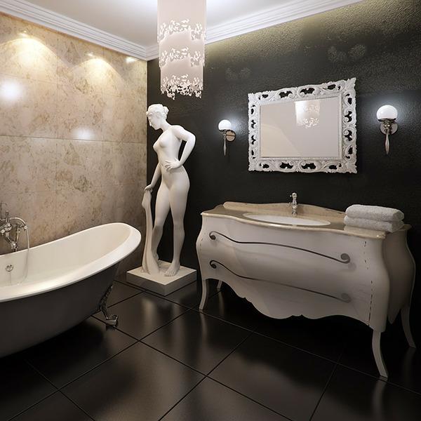 Le miroir baroque est un joli accent d co - Salle de bain style antique ...