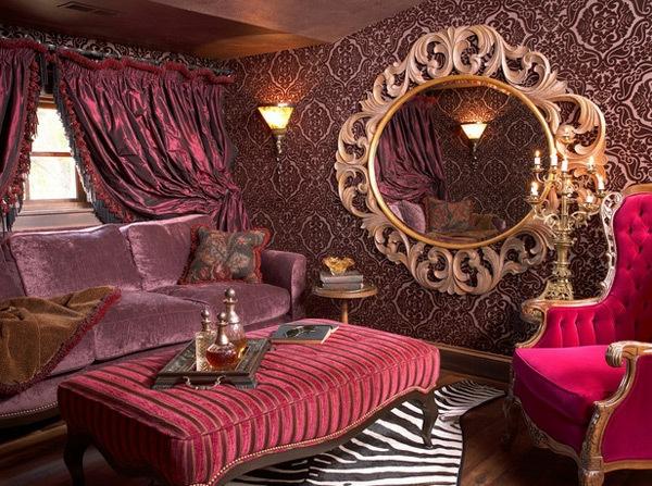 miroir-baroque-salle-de-séjour-en-rose-à-inspiration-baroque
