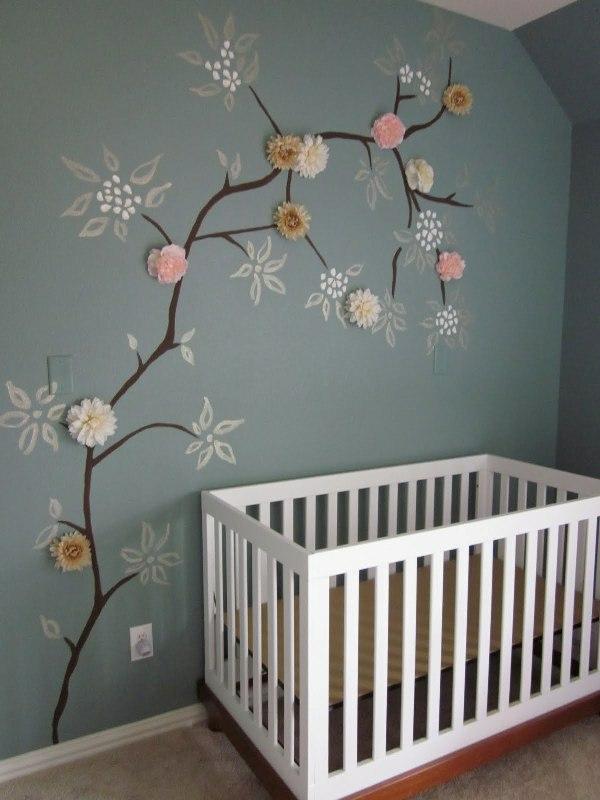 mobilier-design-denfant-pour-une-chambre-en-gris-avec-3d-sticker-fleurs