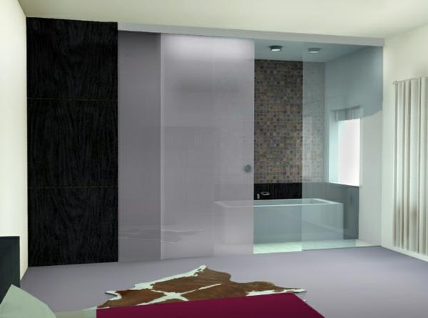 La porte coulissante pour la salle de bain for Meuble de salle de bain porte coulissante