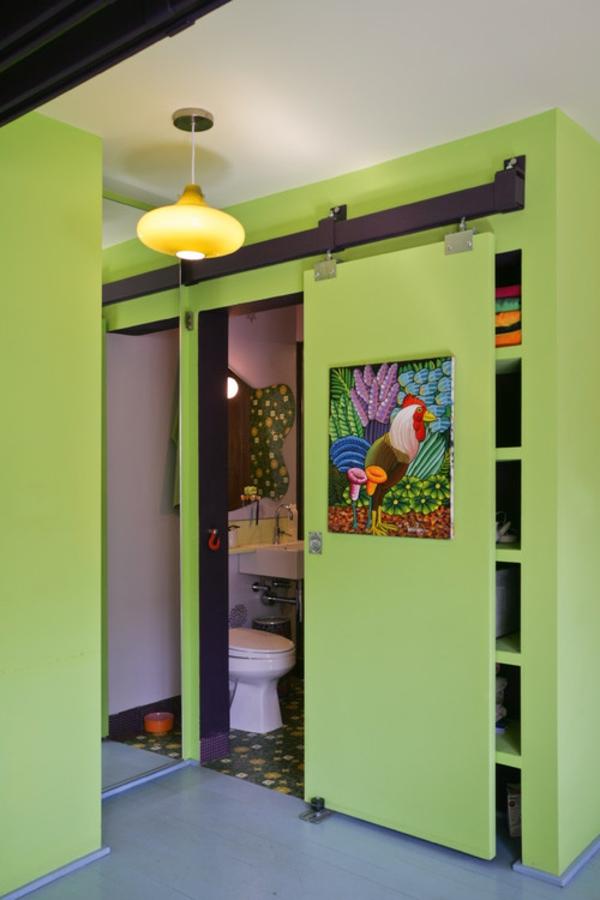 porte-coulissante-pour-la-salle-de-bain-en-vert