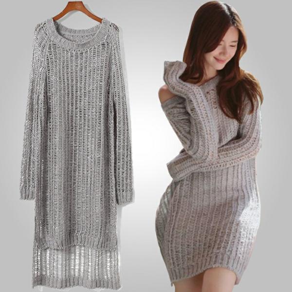 Robe pull gris clair