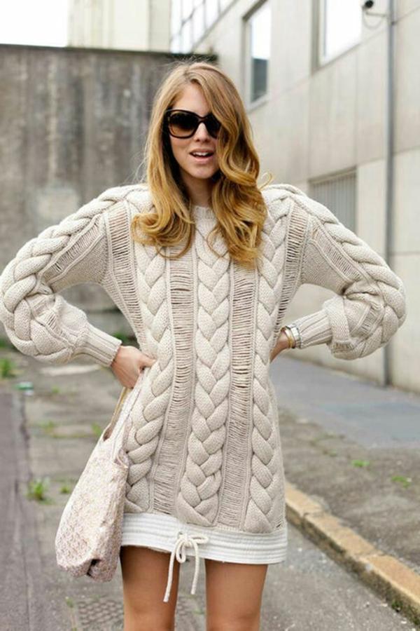 robe-pull-beige-torsades-modèle-original