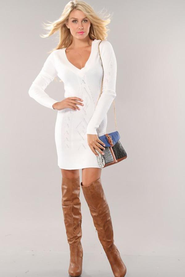 Robe blanche et marron