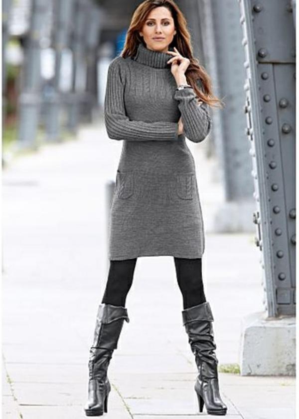 robe-pull-grise-avec-des-poches