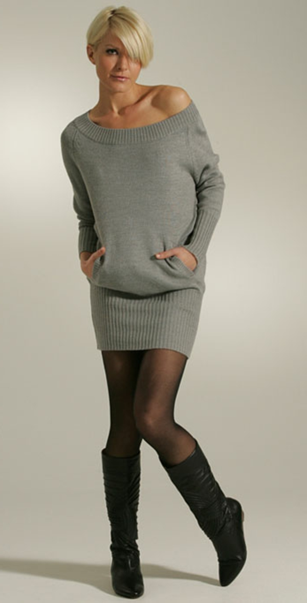 robe-pull-grise-courte