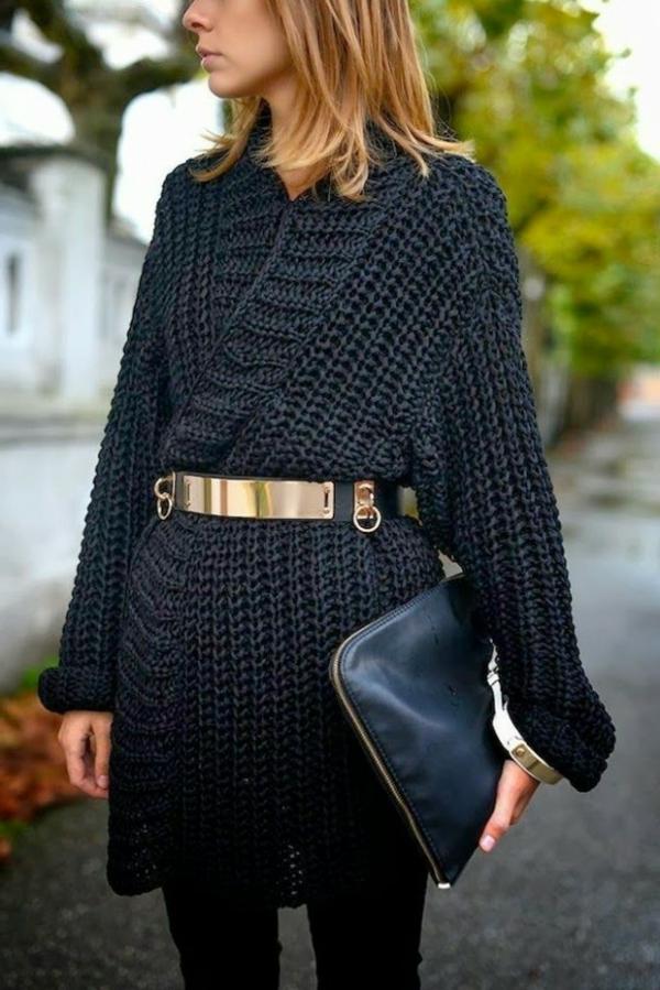 robe-pull-noire-ceinture-dorée