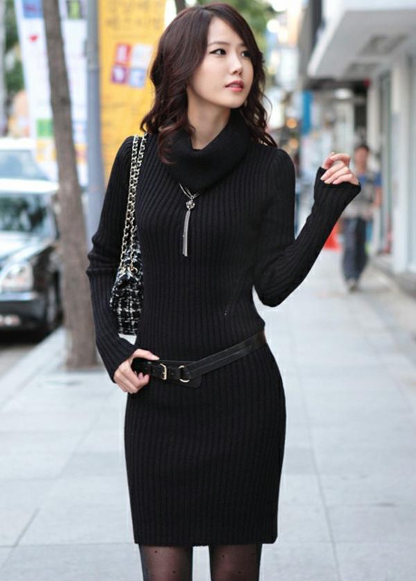 robe-pull-noire-et-élégnate