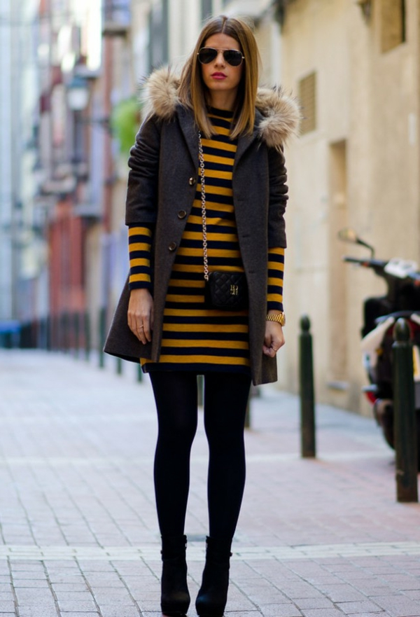 robe-pull-rayée-en-jaune-et-noir