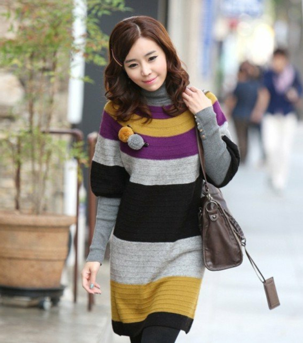 robe-pull-rayures-multicolores