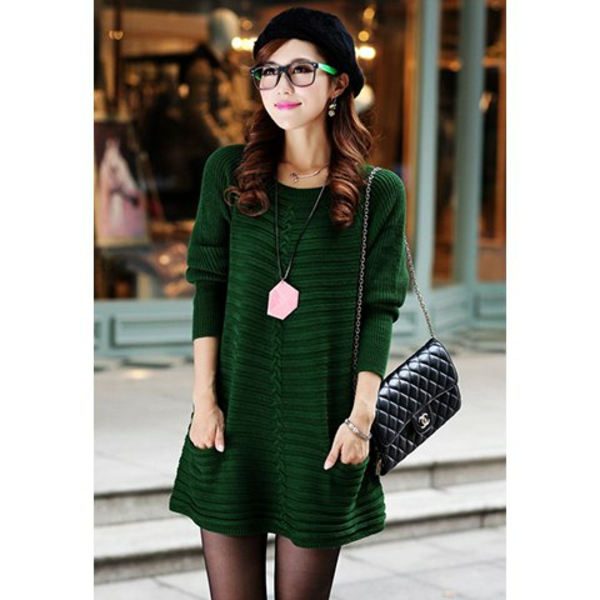 robe-pull-verte-manches-longues