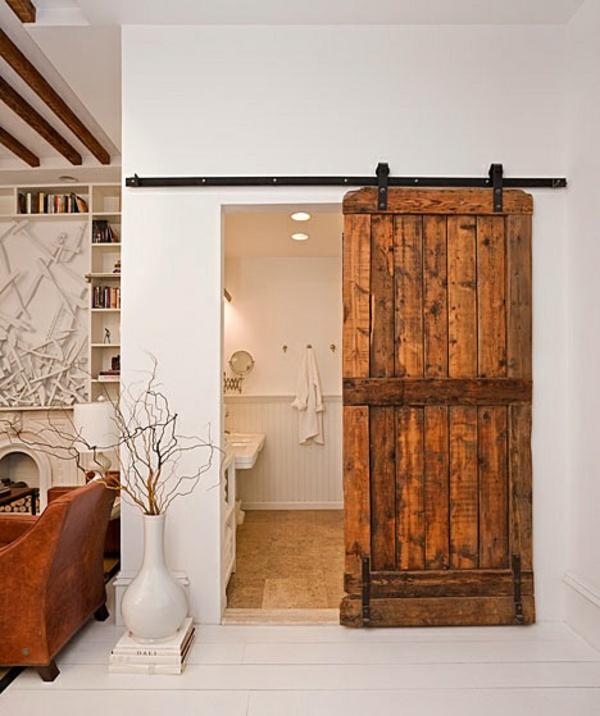 La porte coulissante pour la salle de bain - Porte coulissante style industriel ...