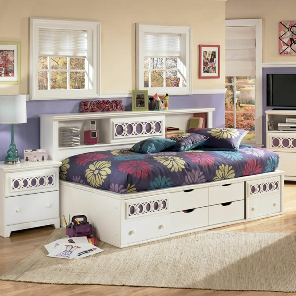 La t te de lit avec rangement un gain d 39 espace d co - Rangement de chambre a coucher ...