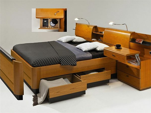 Lit avec chevet integre maison design for Lit adulte design avec rangement