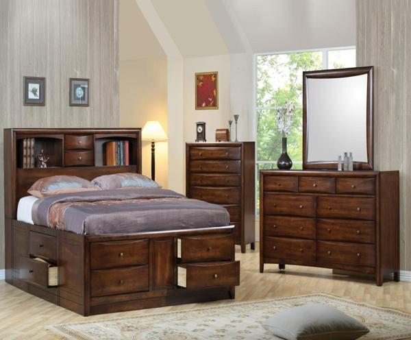 La t te de lit avec rangement un gain d 39 espace d co - Lit sureleve avec rangement ...