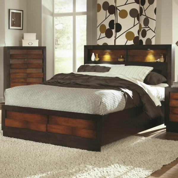 tete de lit en bois avec rangement maison design. Black Bedroom Furniture Sets. Home Design Ideas