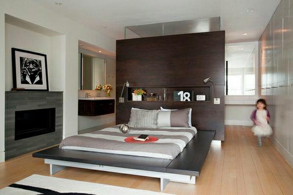La t te de lit avec rangement un gain d 39 espace d co for Bureau style japonais