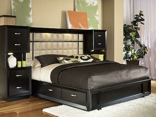 tetes de lit avec rangements id es de. Black Bedroom Furniture Sets. Home Design Ideas